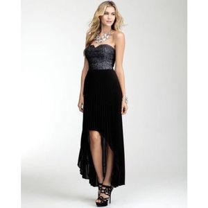 Bebe Bustier Sequined High Low Pleated Dress XXS